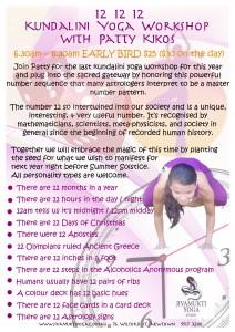 12 12 12 Kundalini Yoga Workshop w Patty Kikos