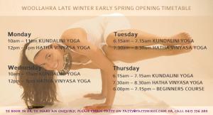 Woollahra Yoga with Patty Kikos Opening Timetable